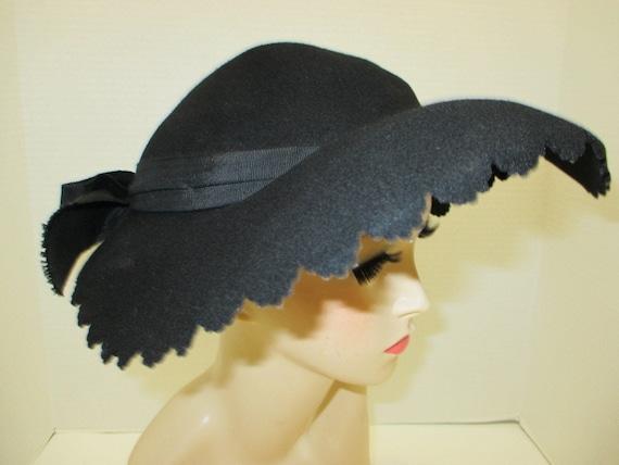 1960s Black Hat, Unique black hat, Madmen hat, 60s
