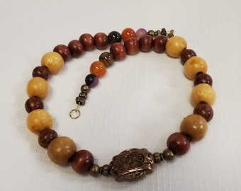 Wooden and Stone Necklace