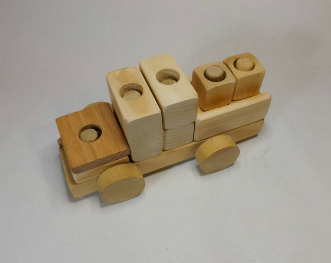 Wooden Truck Puzzle, Developmental Learning Building Toy, Finished or Unfinished Wooden Toy Truck.