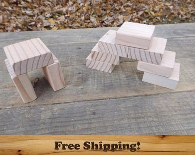 2 inch by 3/4 inch Square Blocks, All Natural, Unfinished or Finished, Sanded Edges, 2 Inch Square Wooden block Set