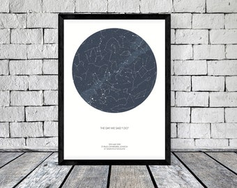 Custom Star Map Digital Constellation Chart Of The Night Sky Personalized