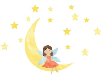 Fairy Wall Decals - Fairy Moon Stars Fabric Wall Decals