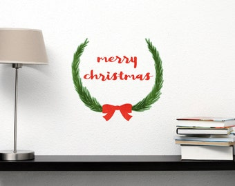 Christmas Wreath - Reusable Watercolor Holiday Decal