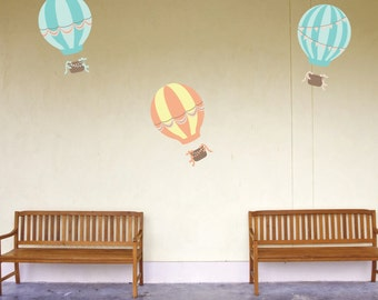 Hot Air Balloon Wall Decals -  Vintage Balloons Fabric Wall Decals