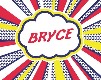 Name Super Hero Wall Decal - Personalized Fabric Wall Decals