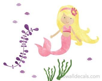 Mermaid Wall Decals - Watercolor Mermaid Wall Decals