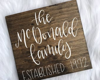 Family Name Sign // Last Name Sign // Wood Name Sign // Custom Name Sign // Calligraphy Sign // Hand Written // 8x8 //