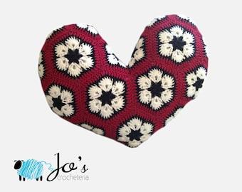 Crochet Pattern - African Flower Heart Pillow