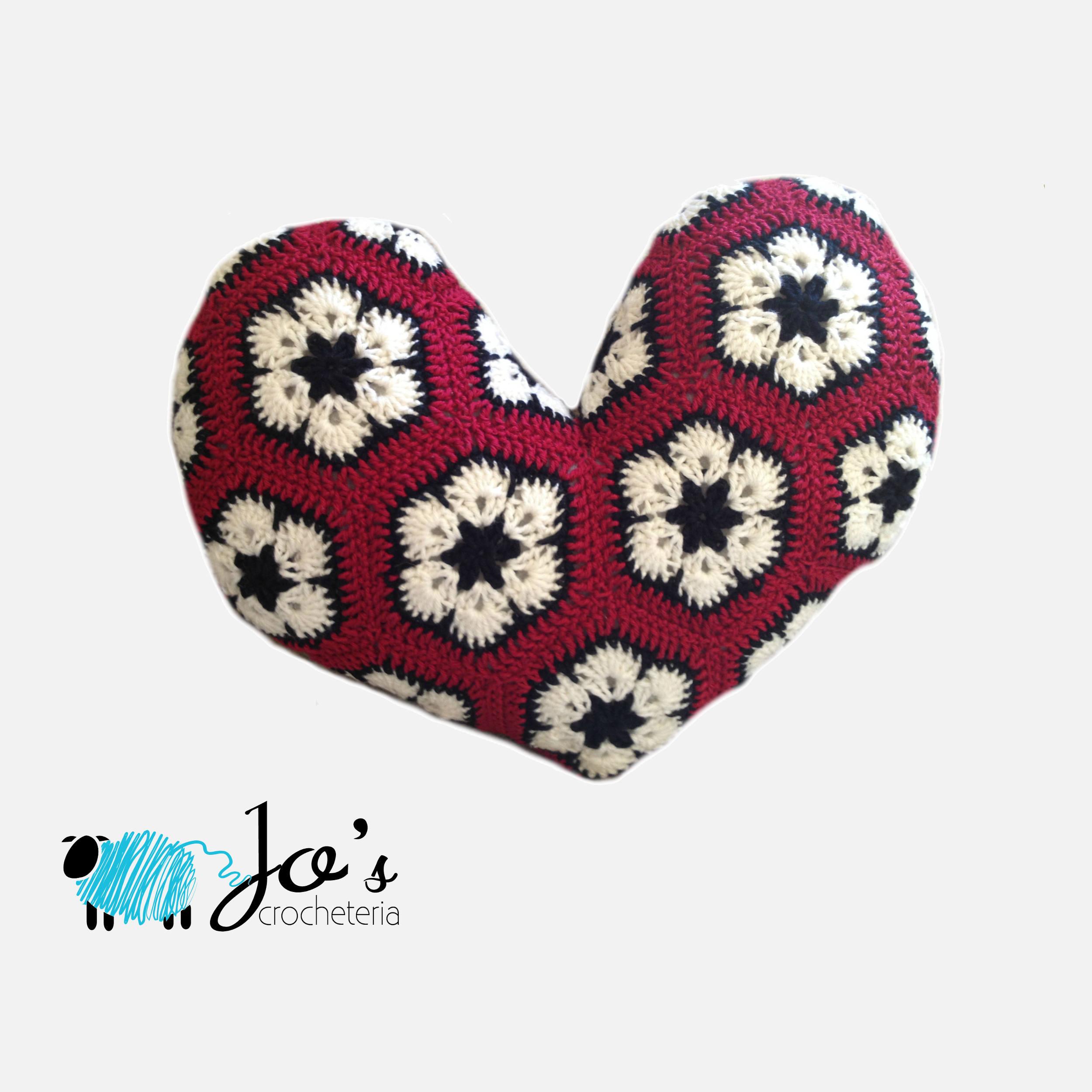Crochet Pattern African Flower Heart Pillow Etsy