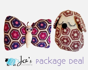 Crochet Patterns - Mia The African Flower Dog Pillow and Tess the African Flower Butterfly Pillow
