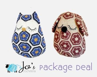 Crochet Patterns - Maggie the African Flower Owl Pillow and Mia the African Flower Dog Pillow