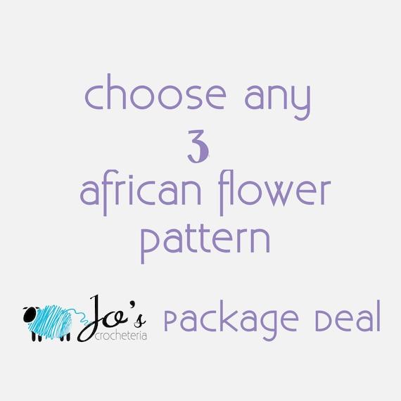 Elija cualquier 3 africana Crochet patrones de flores de | Etsy
