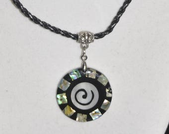 Necklace Earrings Set Shell Mother of Pearl Abalone Spiral Round Circle Couple Suede Braided Black Leather Cord #742 & #812