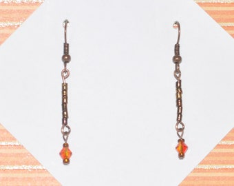 Earrings Copper Delicate Crystal Orange #A10a One Of A Kind