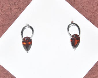 Earrings Silver Red Crystal #F11a