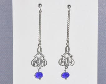 Earrings Silver Stud Filigree Blue Cystal Gothic Victorian Vintage Chain #G05a One Of A Kind