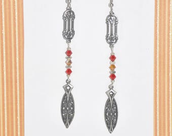 Earrings Silver Filigree Roses Red Orange Crystals Victorian #C06b One Of A Kind