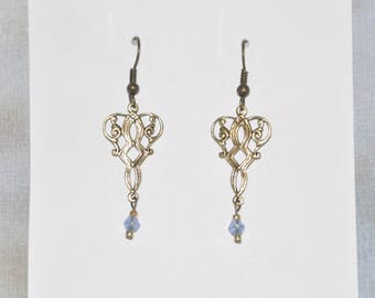 Earrings Brass Filigree Blue Crystal Victorian Gothic #D15b One Of A Kind