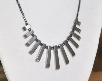 Necklace Graduated Hematite Gunmetal Beaded #290217 One Of A Kind