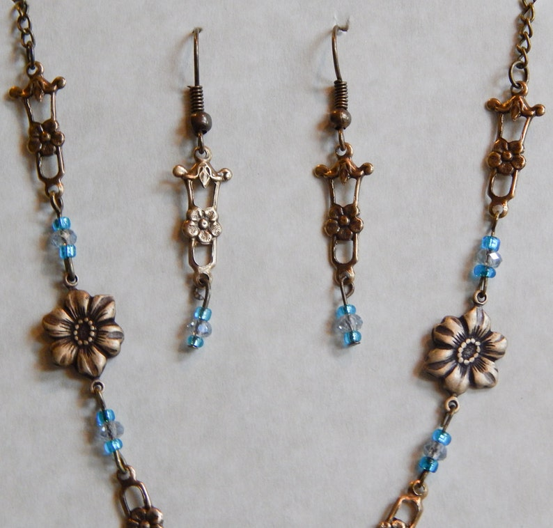 Necklace and Earrings Set 18 Teal Blue Crystal Brass Floral #203 One Of A Kind