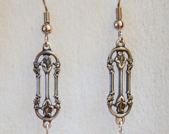 Earrings Silver Filigree Roses Victorian Grey Gray Crystal Floral Vintage #G01a One Of A Kind