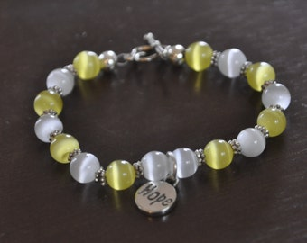 Silver Bracelet White Yellow Heart Hope  #578