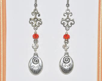 Earrings Silver Filigree Red Grey Clear Crystal Love Much Laugh Often Heart #D03a One Of A Kind