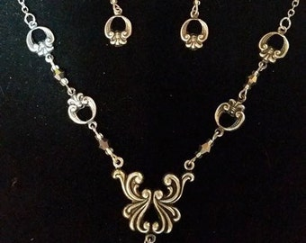 Necklace and Earrings Set Silver Crystal Filigree #300 One Of A Kind