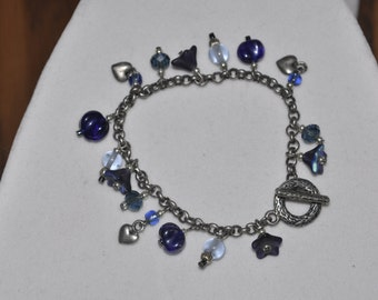 Silver Bracelet Blue Floral Dangle Charm #876 One Of A Kind