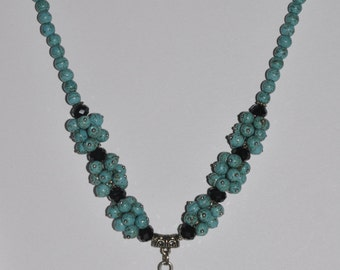 Necklace Turquoise Pendant Black Beads  #629 One Of A Kind