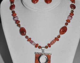 Necklace and Earrings Set Red Jasper Pendant Carnelian Silver #771 One Of A Kind
