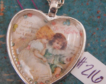 Valentine Heart Necklace Key Ring Victorian #131