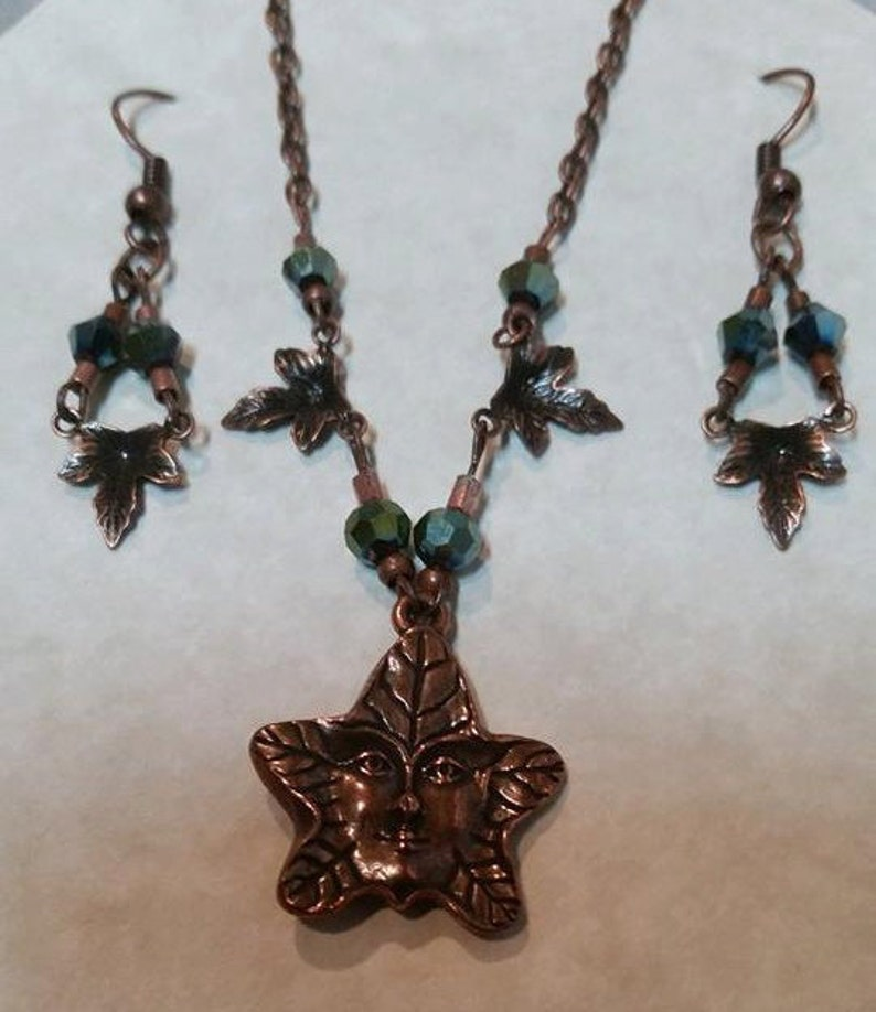 Necklace and Earrings Set Copper Leaf Man Peacock Green Iridescent Crystals #319 One Of A Kind