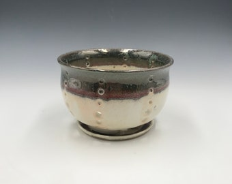 Small Multi Colored Earthy Berry Bowl and Saucer