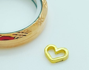 Gold Heart Charm - Floating Locket Charms - Gold Locket Charm - Gold Heart Locket - Hollow Charm - Floating Locket Necklace