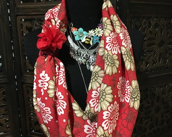 Red Flower Infinity Scarf
