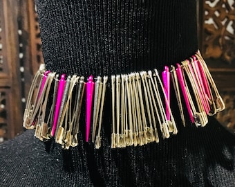 Edgy Pink and Silver Pins Punk Bracelet