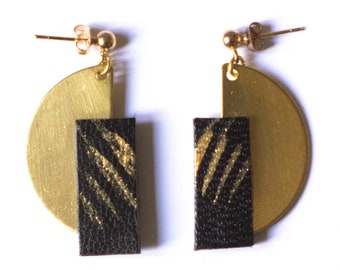 Earrings golden brass and hand-painted leather | WILD M BLACK