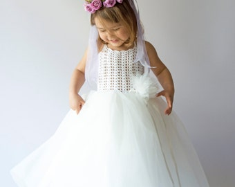 a7a8274916 Halter Ankle Length Girl Tutu Dress with stretch crochet bodice. Baby Flower  Girl Tulle Dress