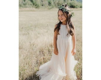 e2fe4a7f5 Boho Flower Girl Dress. Flowergirl Maxi Dress with crochet bodice and soft  tulle bottom