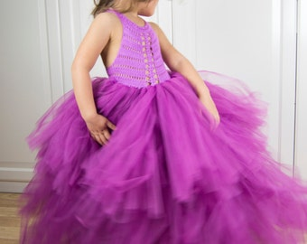 4beffc65b Girl tutu gown. Floor Length Tiered Tutu dress Flower girl dress with  stretch crochet top and fluffy tulle ankle length skirt