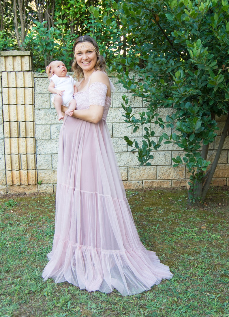 22b20e64ab60 Empire Waist Dusty Pink Tulle and Lace Maternity Dress. Baby | Etsy