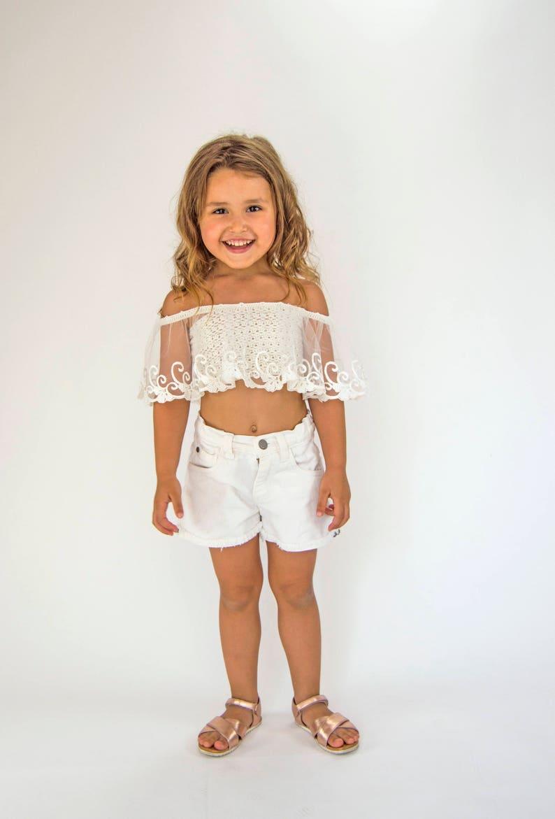 Crochet  crop top with open shoulders and lace frill Beach crop top Crochet summer top
