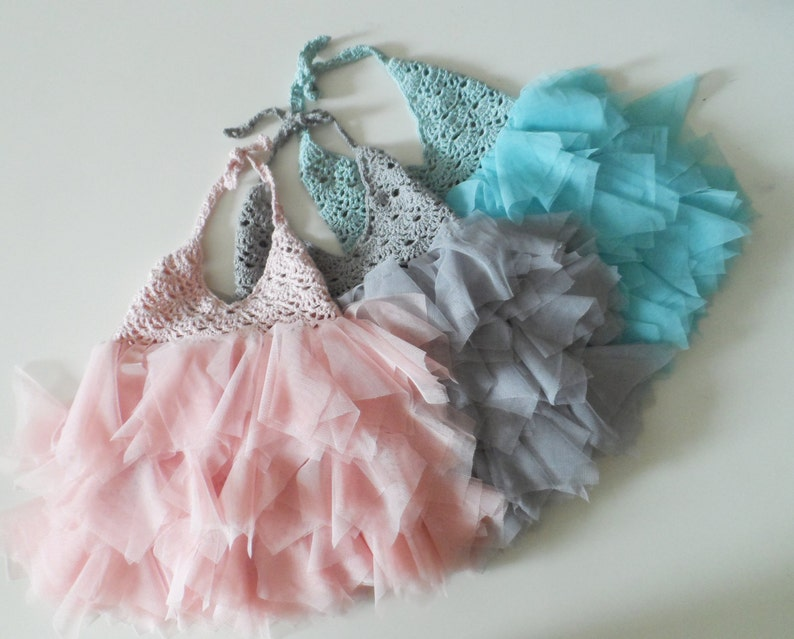 Baby frill dress with lacy bodice Baby Tulle Dress with Lace Stretch Crochet Bodice