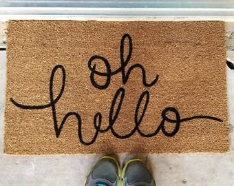 Oh hello doormat custom welcome mat