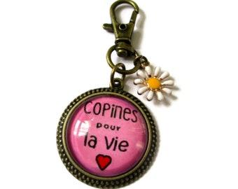 copines pour la vie Keychain - Cute Keychain - friendship Keychain - best friend gift - bachelorette keyring - friend gift - christmas gift