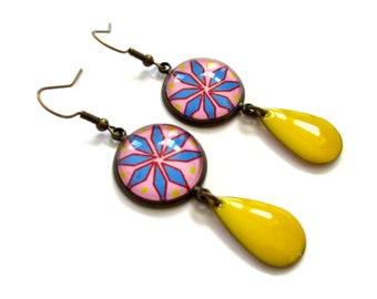 Pink and Blue Flower Earrings - yellow enamel earring - Geometric Statement Earrings - Boho earrings - Summer earrings - Colorful