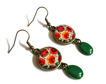 Orange Dangle Earrings - Green Enamel- Orange flowers - Orange Flower Earrings - Orange Jewelry - boho earrings  - automn earrings