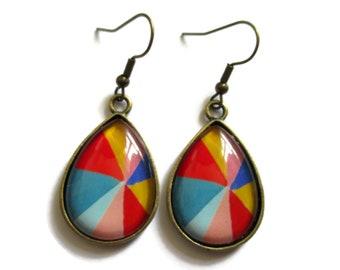Teardrop Earrings, drop earrings ,colorful Pattern, BOHO Earrings, Hippie Earrings, color pop Pattern, geometric Earring, clip