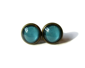 turquoise earrings, blue post earring, blue jewelry, turquoise stud earings, spring earrings, pop jewelry, bright color